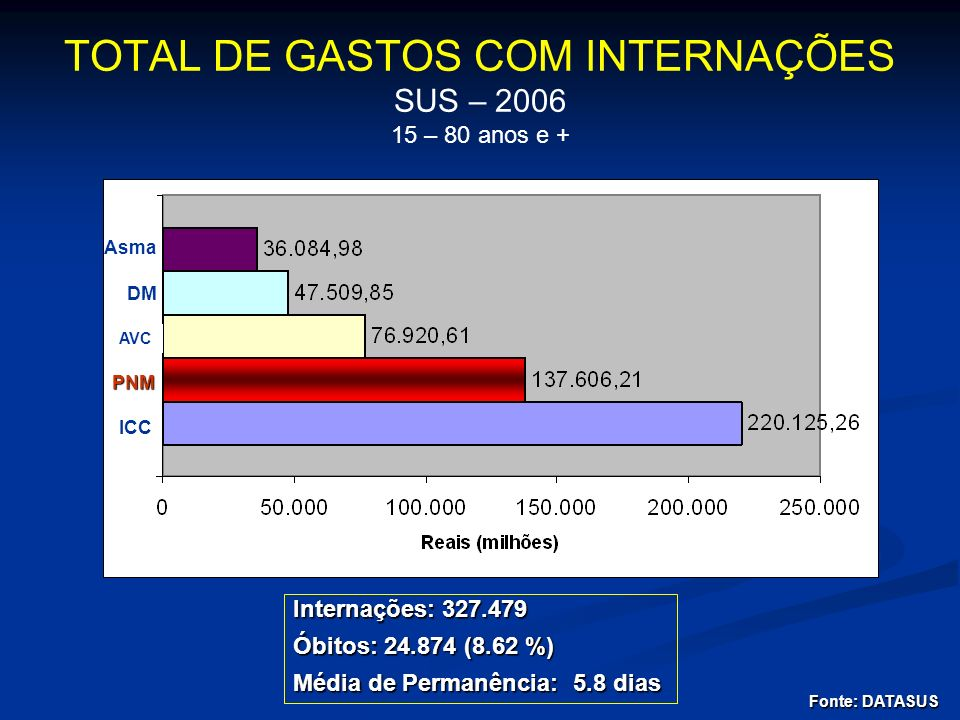 TOTAL DE GASTOS COM INTERNAÇÕES SUS – 2006 15 – 80 anos e +