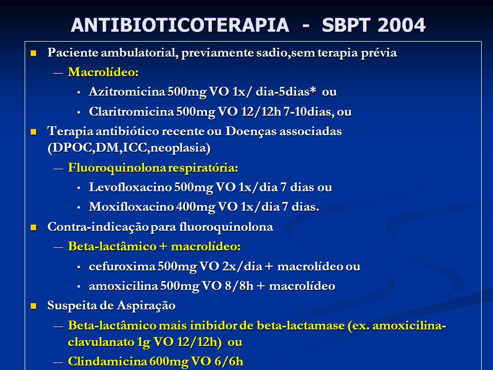 ANTIBIOTICOTERAPIA - SBPT 2004