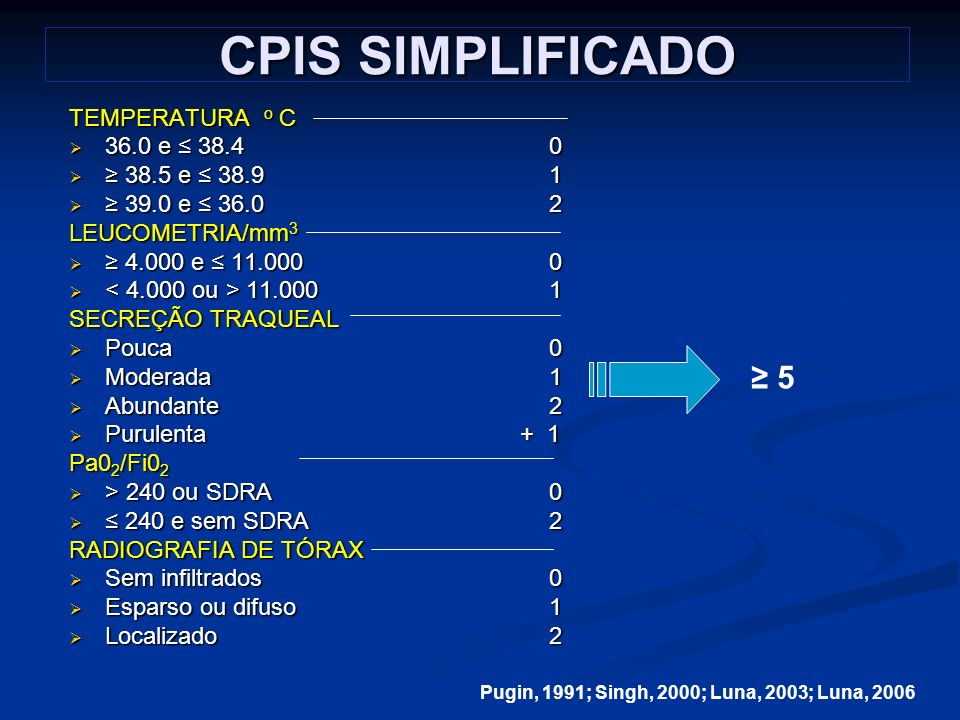 CPIS SIMPLIFICADO ≥ 5 TEMPERATURA o C 36.0 e ≤ 38.4 0