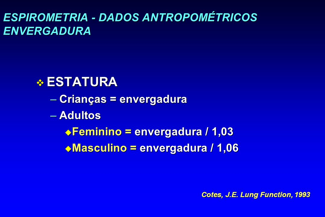 ESPIROMETRIA - DADOS ANTROPOMÉTRICOS ENVERGADURA
