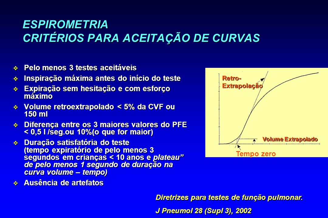 ESPIROMETRIA CRITÉRIOS PARA ACEITAÇÃO DE CURVAS