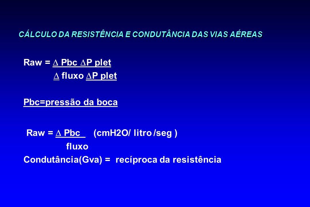 CÁLCULO DA RESISTÊNCIA E CONDUTÂNCIA DAS VIAS AÉREAS