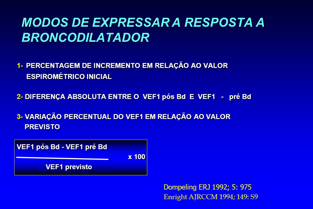 MODOS DE EXPRESSAR A RESPOSTA A BRONCODILATADOR