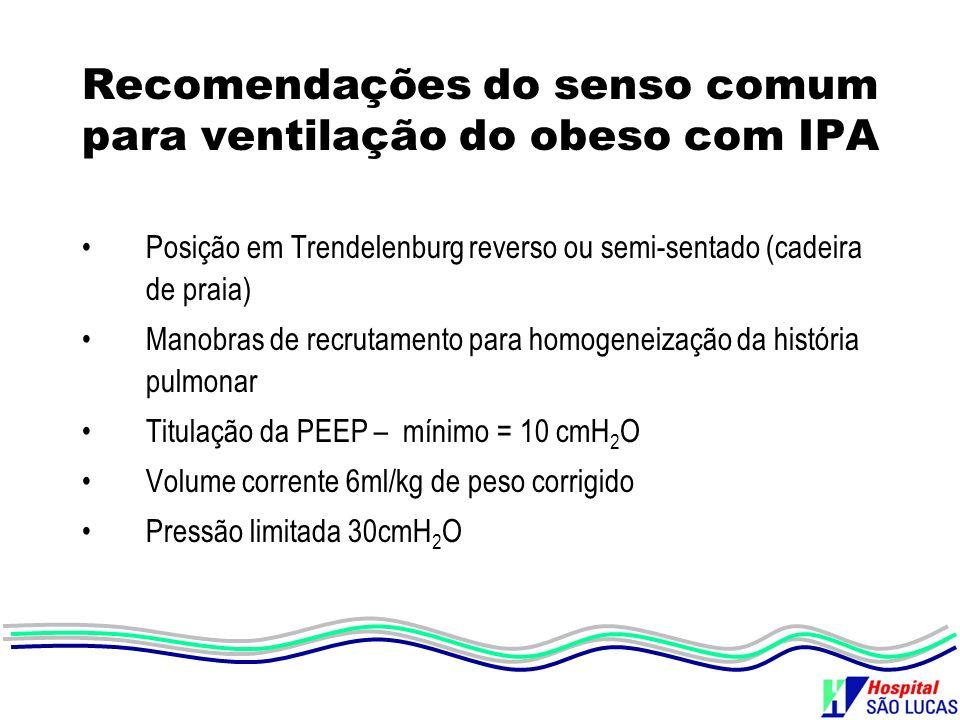 Recomendações do senso comum para ventilação do obeso com IPA