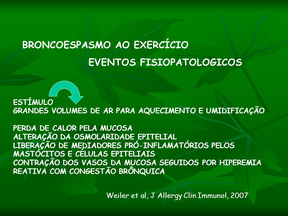 BRONCOESPASMO AO EXERCÍCIO EVENTOS FISIOPATOLOGICOS