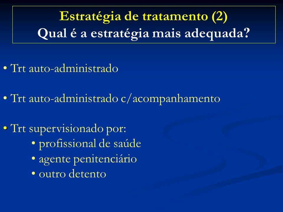 Estratégia de tratamento (2) Qual é a estratégia mais adequada