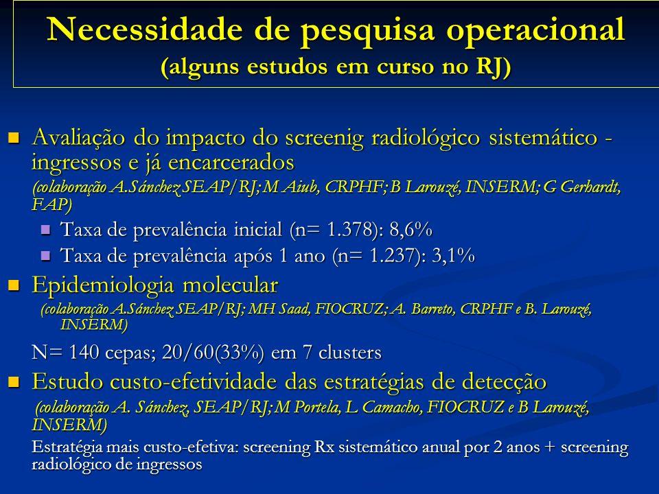 Necessidade de pesquisa operacional (alguns estudos em curso no RJ)