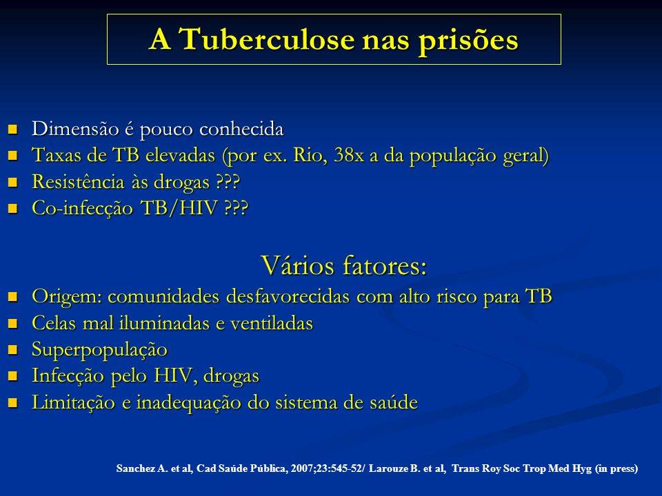 A Tuberculose nas prisões