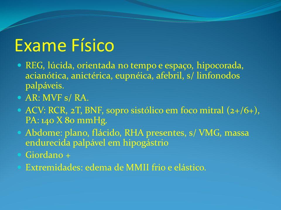 Exame Físico REG, lúcida, orientada no tempo e espaço, hipocorada, acianótica, anictérica, eupnéica, afebril, s/ linfonodos palpáveis.