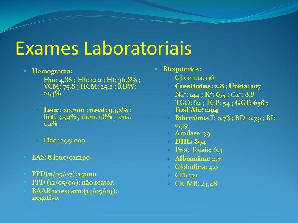 Exames Laboratoriais Bioquímica: Hemograma: Glicemia: 116
