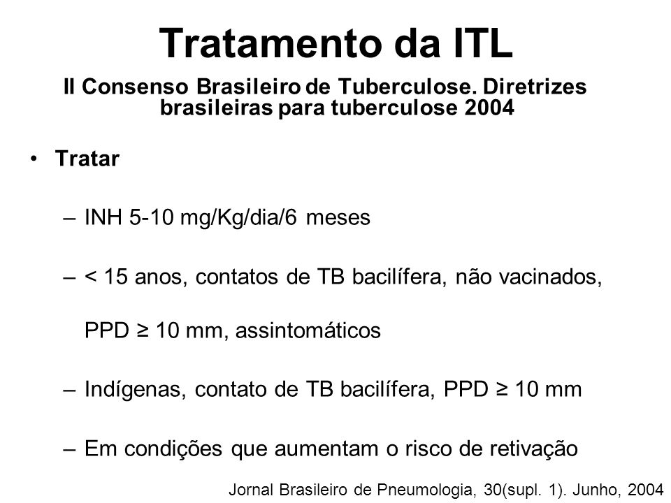 Tratamento da ITL II Consenso Brasileiro de Tuberculose. Diretrizes brasileiras para tuberculose 2004.