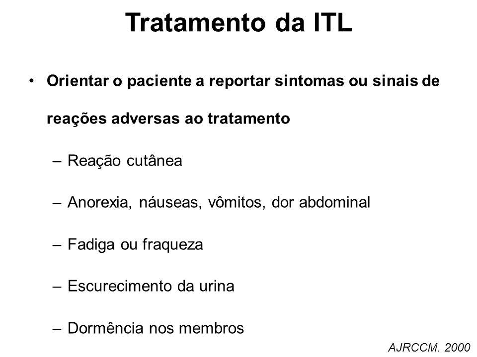 Tratamento da ITL Orientar o paciente a reportar sintomas ou sinais de reações adversas ao tratamento.