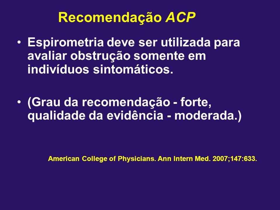 Recomendação ACPEspirometria deve ser utilizada para avaliar obstrução somente em indivíduos sintomáticos.