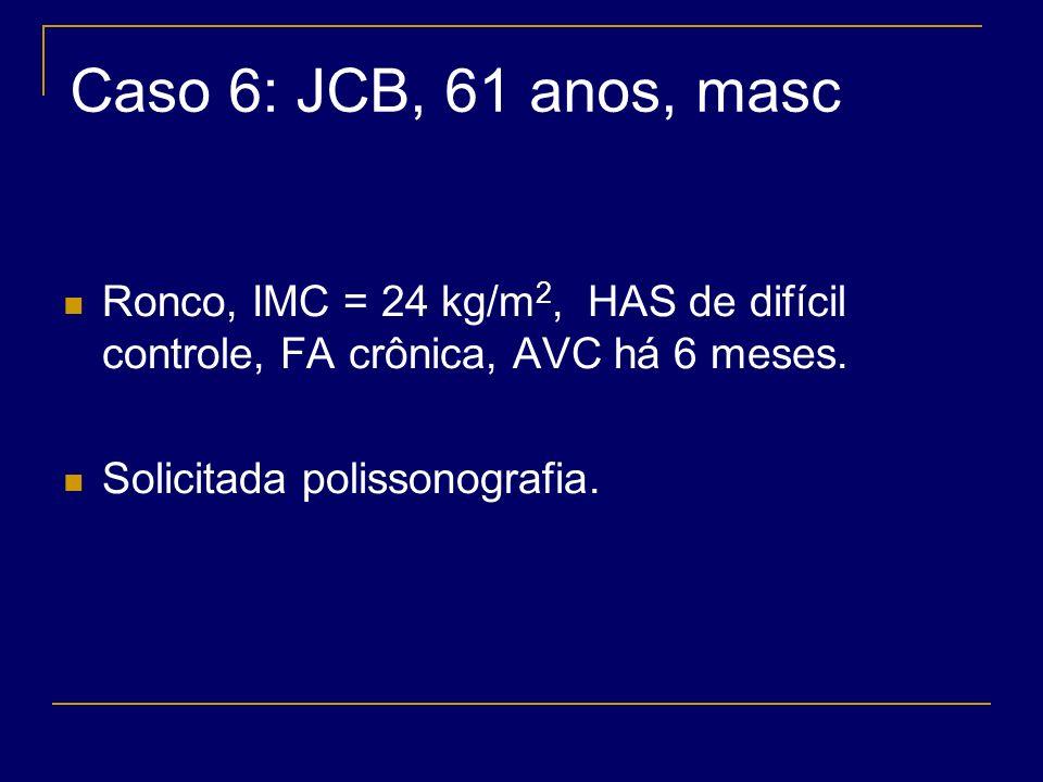 Caso 6: JCB, 61 anos, masc Ronco, IMC = 24 kg/m2, HAS de difícil controle, FA crônica, AVC há 6 meses.