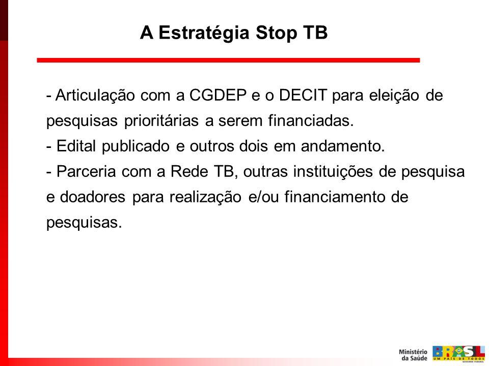 A Estratégia Stop TBArticulação com a CGDEP e o DECIT para eleição de pesquisas prioritárias a serem financiadas.