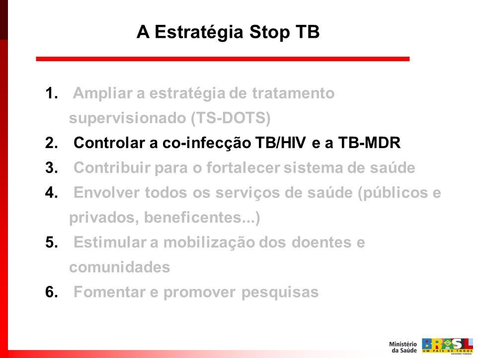 A Estratégia Stop TB Ampliar a estratégia de tratamento supervisionado (TS-DOTS) Controlar a co-infecção TB/HIV e a TB-MDR.