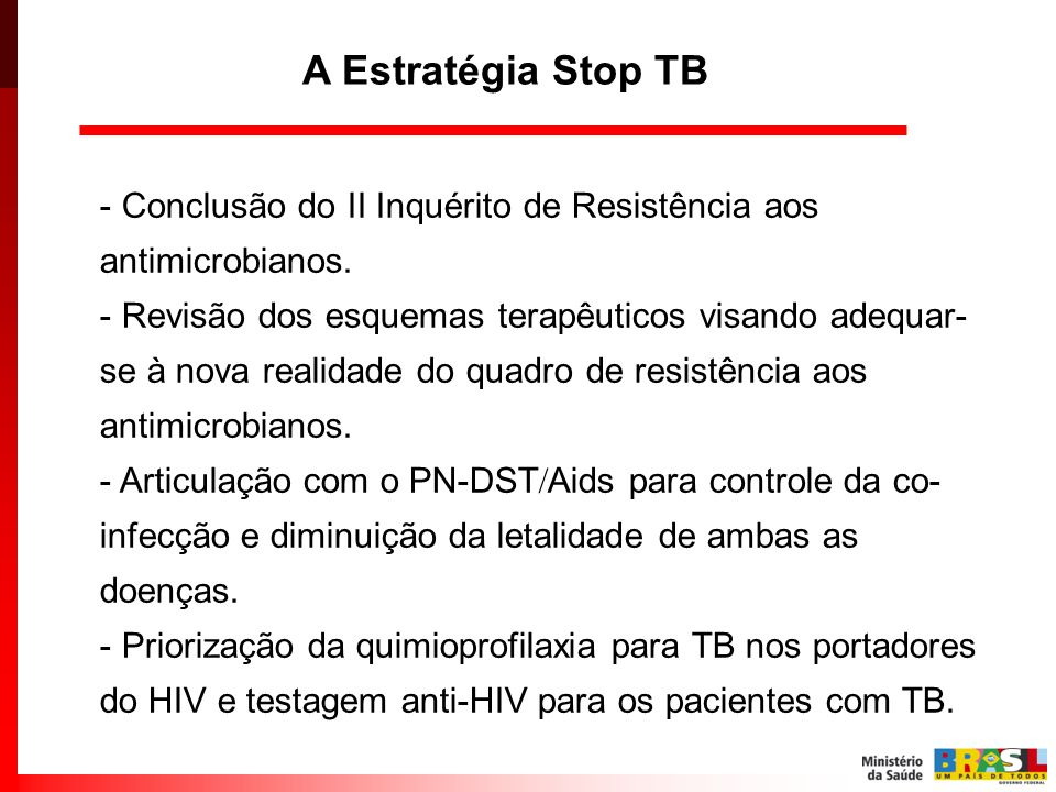 A Estratégia Stop TB Conclusão do II Inquérito de Resistência aos antimicrobianos.