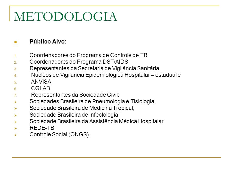 METODOLOGIA Público Alvo: Coordenadores do Programa de Controle de TB