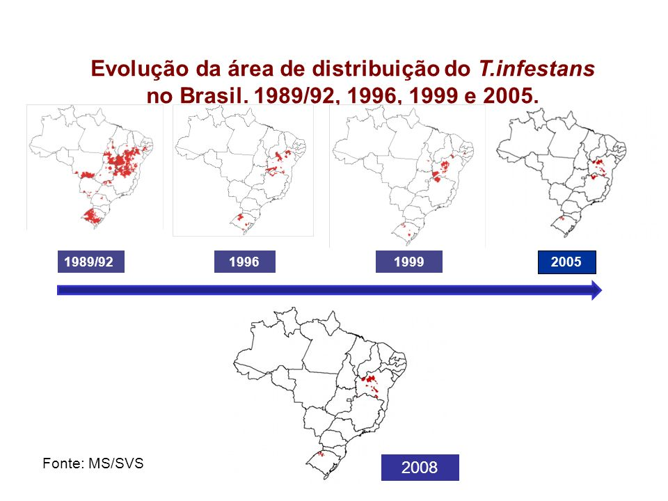 Evolução da área de distribuição do T. infestans no Brasil
