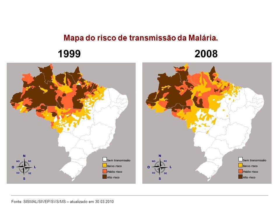 Mapa do risco de transmissão da Malária.
