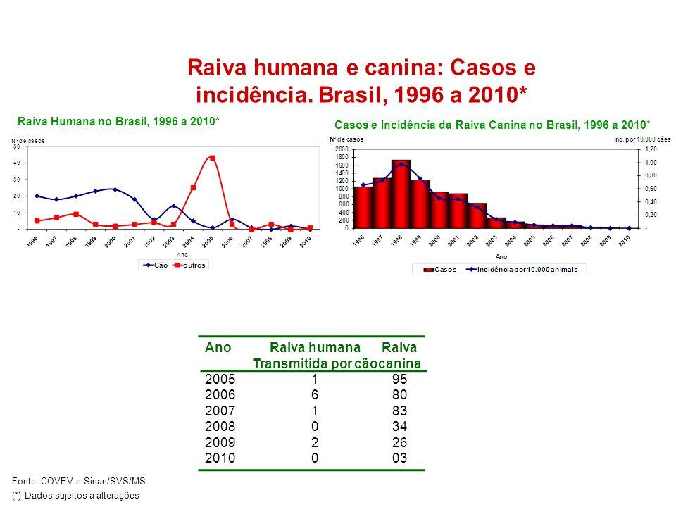 Raiva humana e canina: Casos e incidência. Brasil, 1996 a 2010*