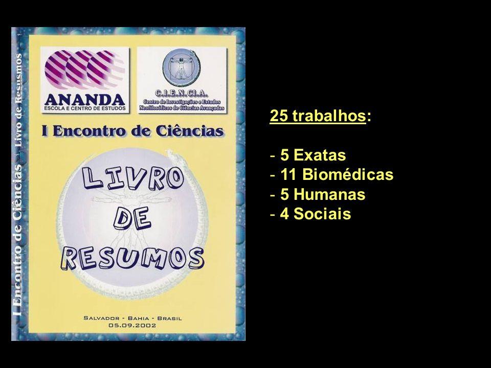 25 trabalhos: 5 Exatas 11 Biomédicas 5 Humanas 4 Sociais