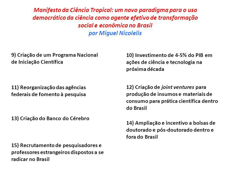 Manifesto da Ciência Tropical: um novo paradigma para o uso democrático da ciência como agente efetivo de transformação social e econômica no Brasil