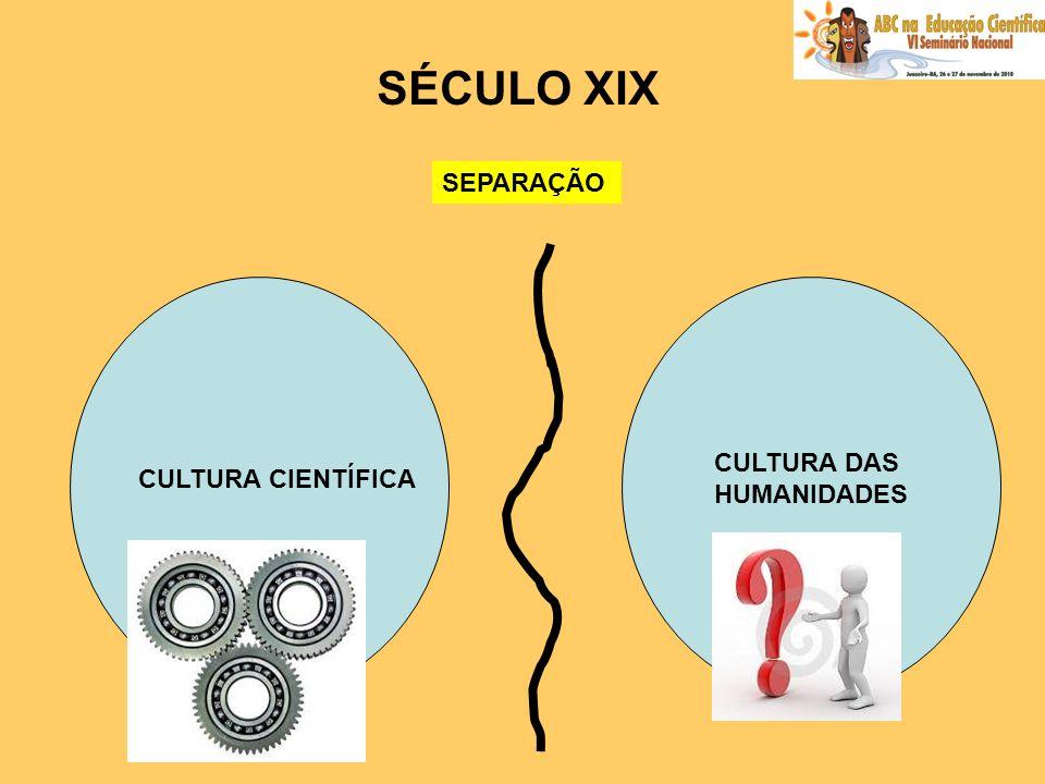 SÉCULO XIX SEPARAÇÃO CULTURA DAS HUMANIDADES CULTURA CIENTÍFICA