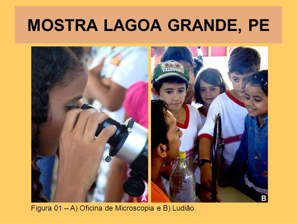 MOSTRA LAGOA GRANDE, PE Figura 01 – A) Oficina de Microscopia e B) Ludião.