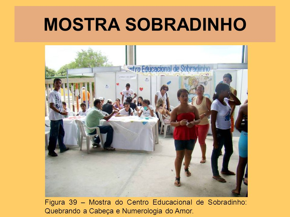 MOSTRA SOBRADINHO Figura 39 – Mostra do Centro Educacional de Sobradinho: Quebrando a Cabeça e Numerologia do Amor.