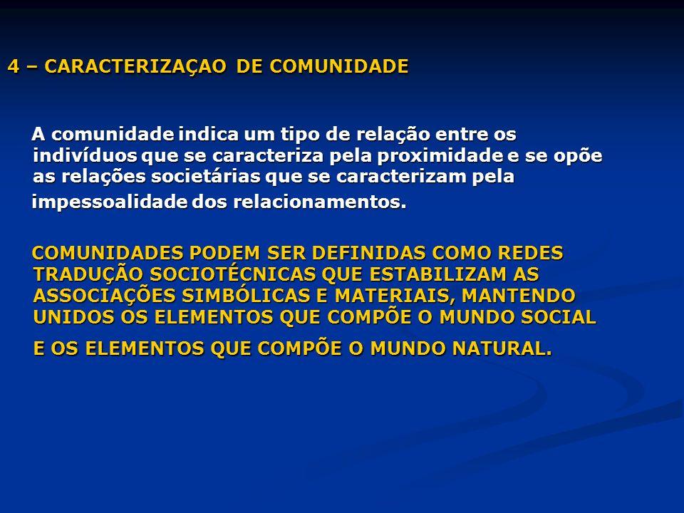 4 – CARACTERIZAÇAO DE COMUNIDADE