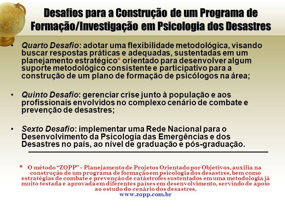 Desafios para a Construção de um Programa de Formação/Investigação em Psicologia dos Desastres