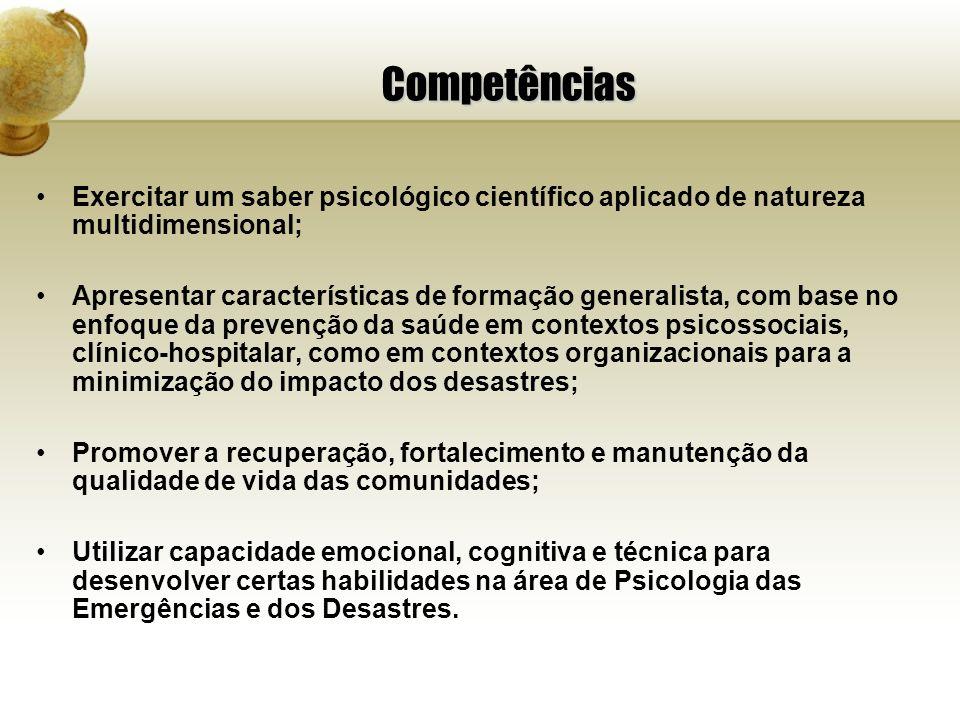 Competências Exercitar um saber psicológico científico aplicado de natureza multidimensional;