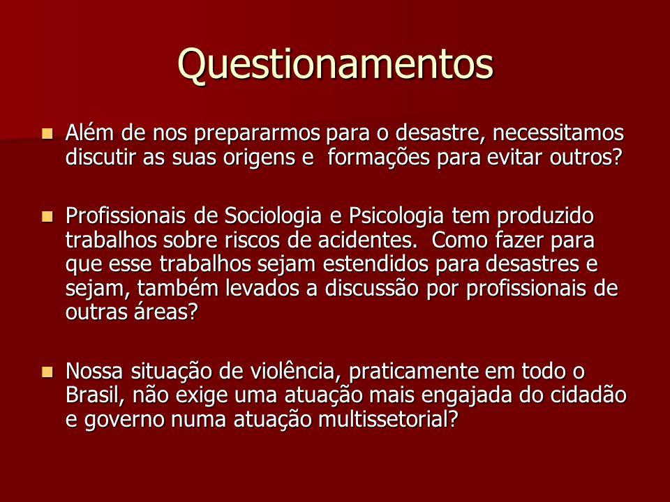 Questionamentos Além de nos prepararmos para o desastre, necessitamos discutir as suas origens e formações para evitar outros