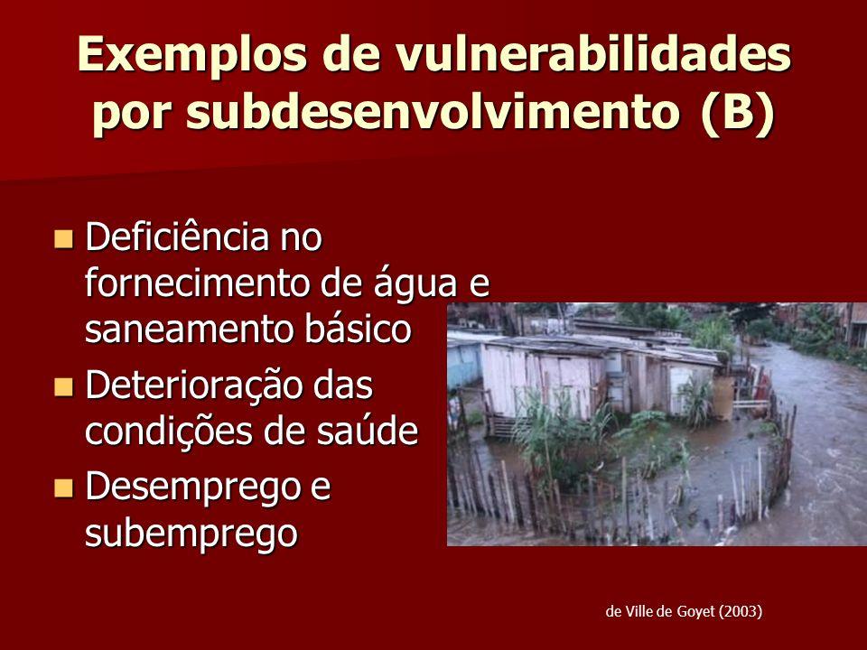 Exemplos de vulnerabilidades por subdesenvolvimento (B)