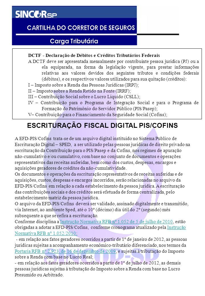 ESCRITURAÇÃO FISCAL DIGITAL PIS/COFINS
