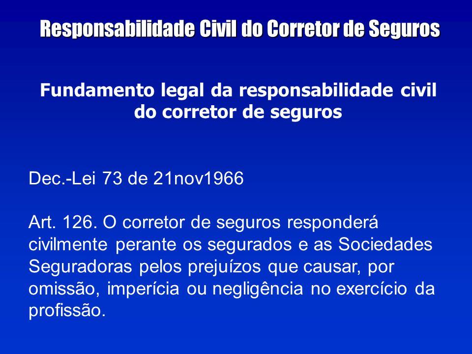 Fundamento legal da responsabilidade civil do corretor de seguros