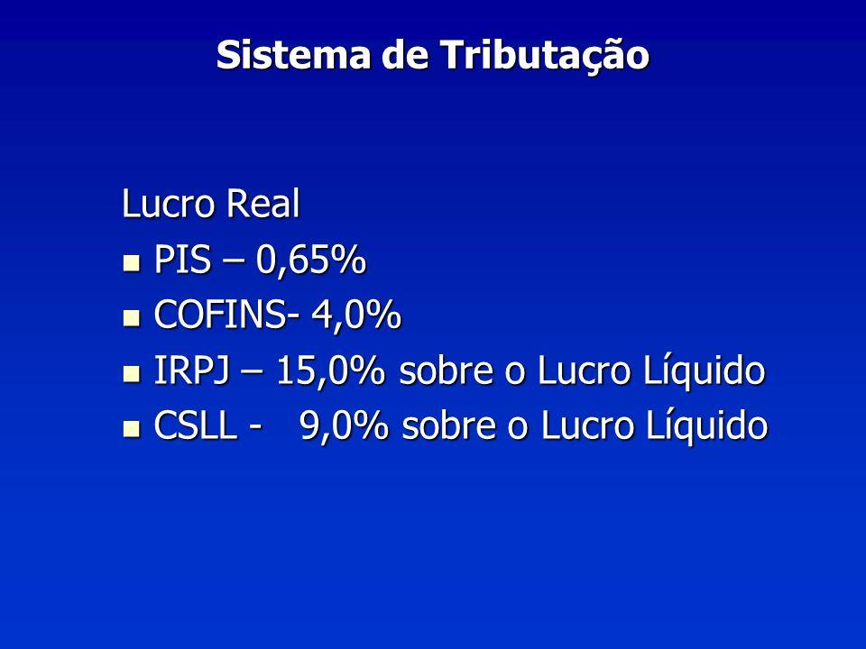 Sistema de Tributação Lucro Real. PIS – 0,65% COFINS- 4,0% IRPJ – 15,0% sobre o Lucro Líquido.