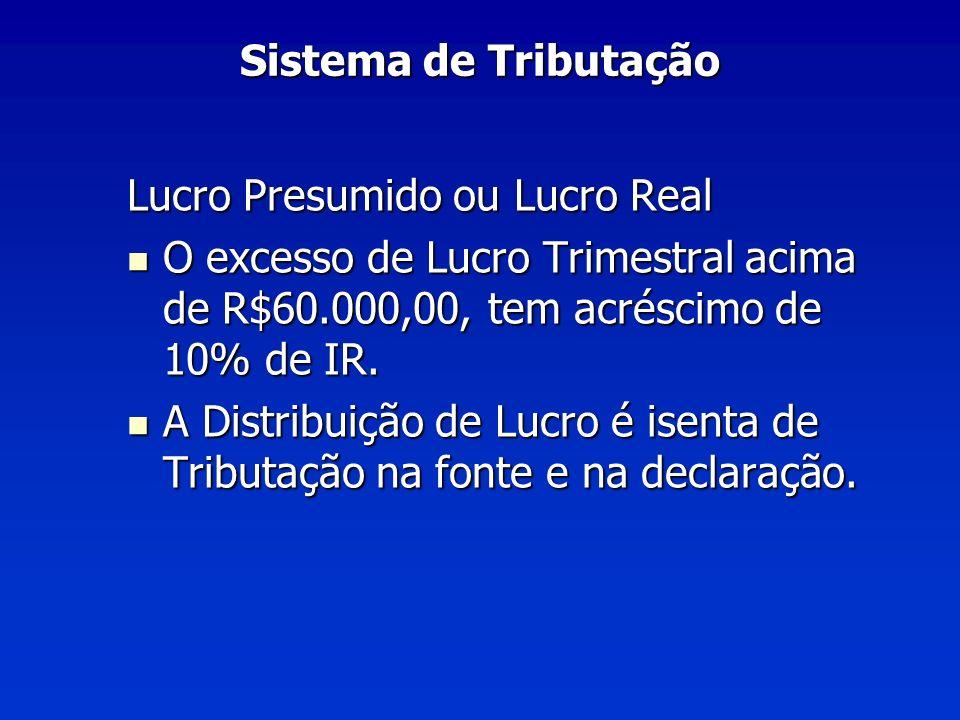 Sistema de Tributação Lucro Presumido ou Lucro Real. O excesso de Lucro Trimestral acima de R$60.000,00, tem acréscimo de 10% de IR.