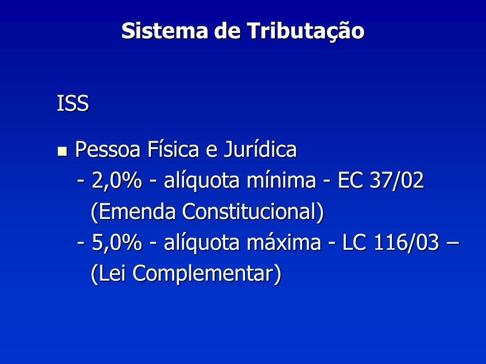 Sistema de Tributação ISS. Pessoa Física e Jurídica. - 2,0% - alíquota mínima - EC 37/02. (Emenda Constitucional)