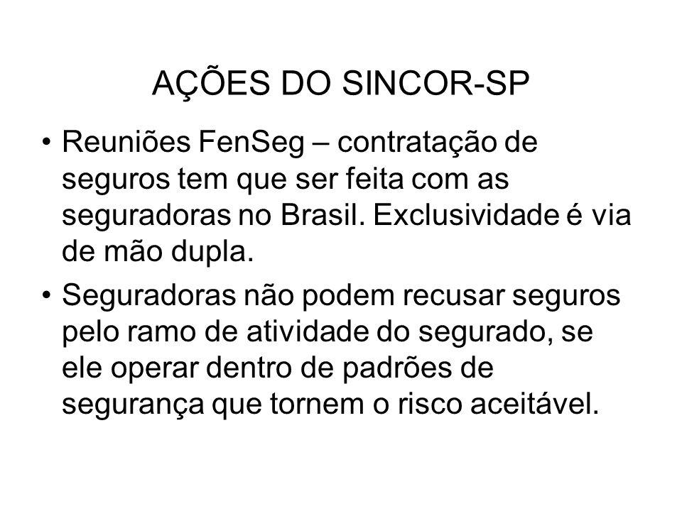 AÇÕES DO SINCOR-SP Reuniões FenSeg – contratação de seguros tem que ser feita com as seguradoras no Brasil. Exclusividade é via de mão dupla.