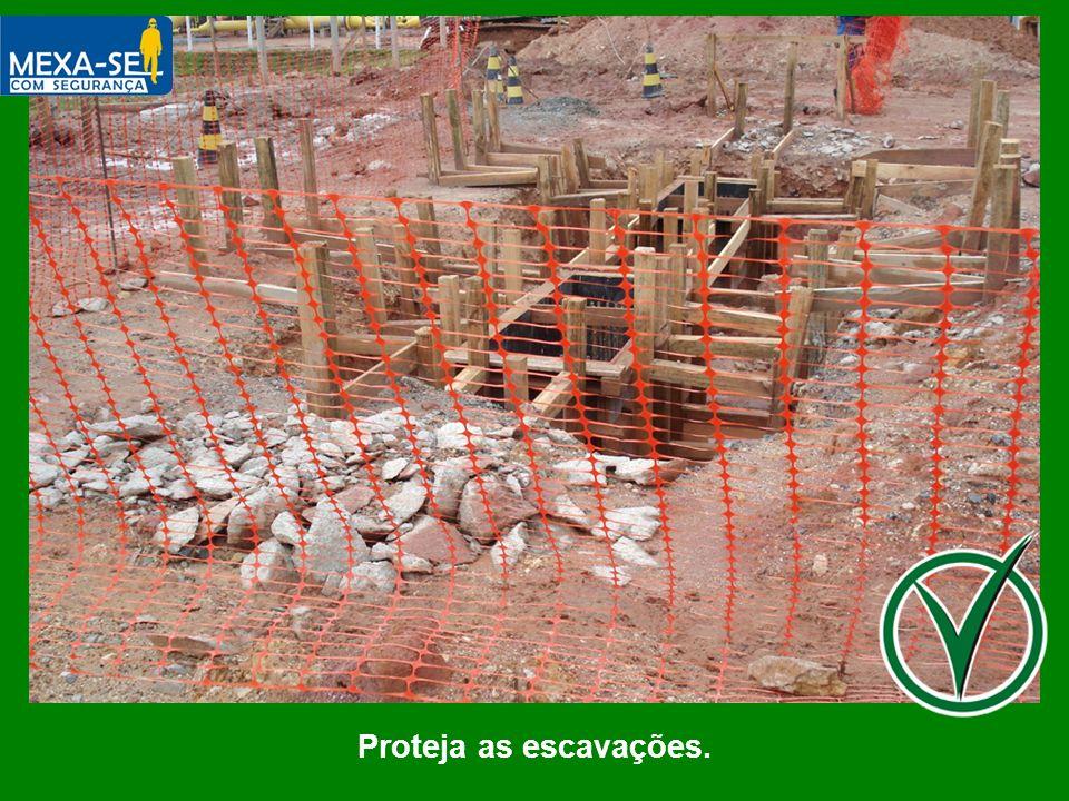 O palestrante deverá informar que as escavações devem estar protegidas.