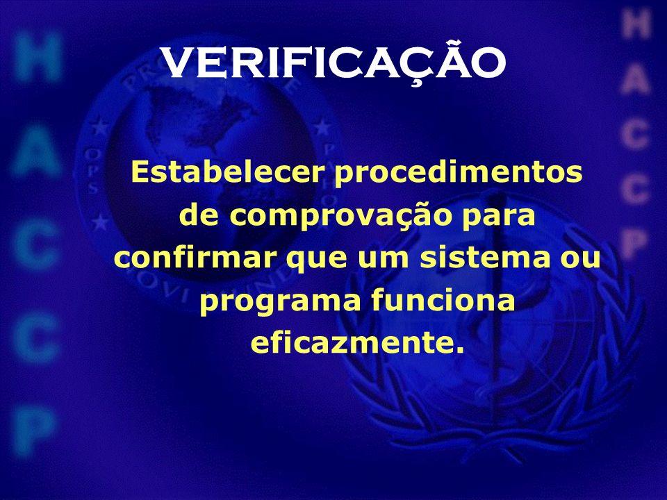VERIFICAÇÃO Estabelecer procedimentos de comprovação para confirmar que um sistema ou programa funciona eficazmente.