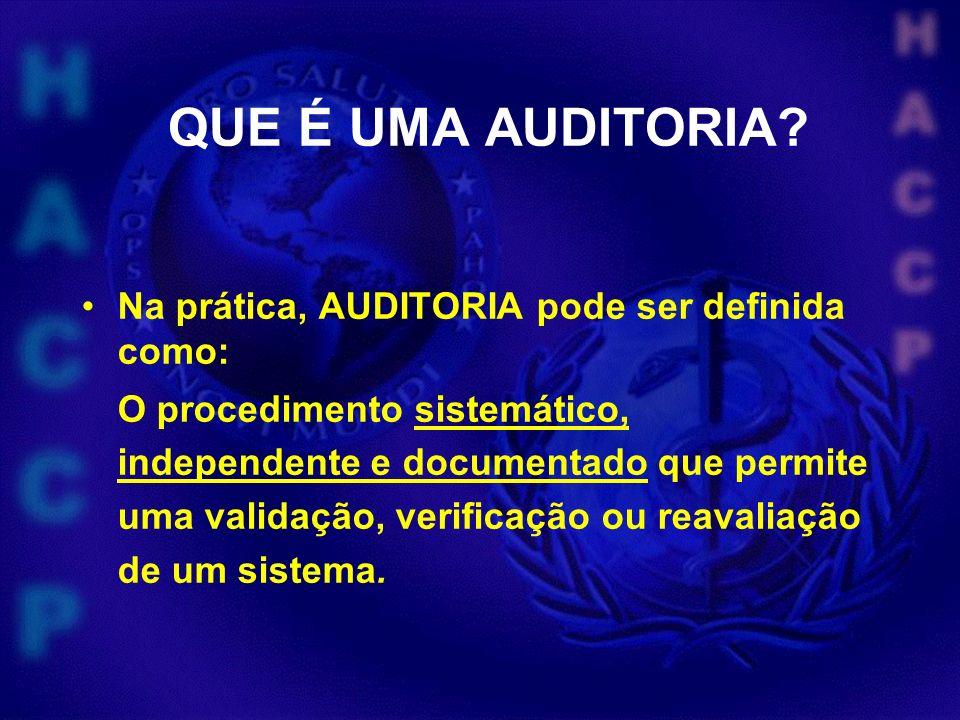 QUE É UMA AUDITORIA Na prática, AUDITORIA pode ser definida como: