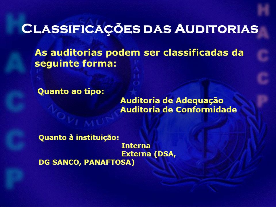 Classificações das Auditorias