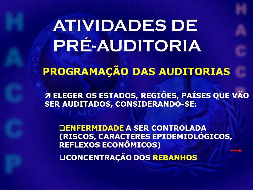 ATIVIDADES DE PRÉ-AUDITORIA PROGRAMAÇÃO DAS AUDITORIAS