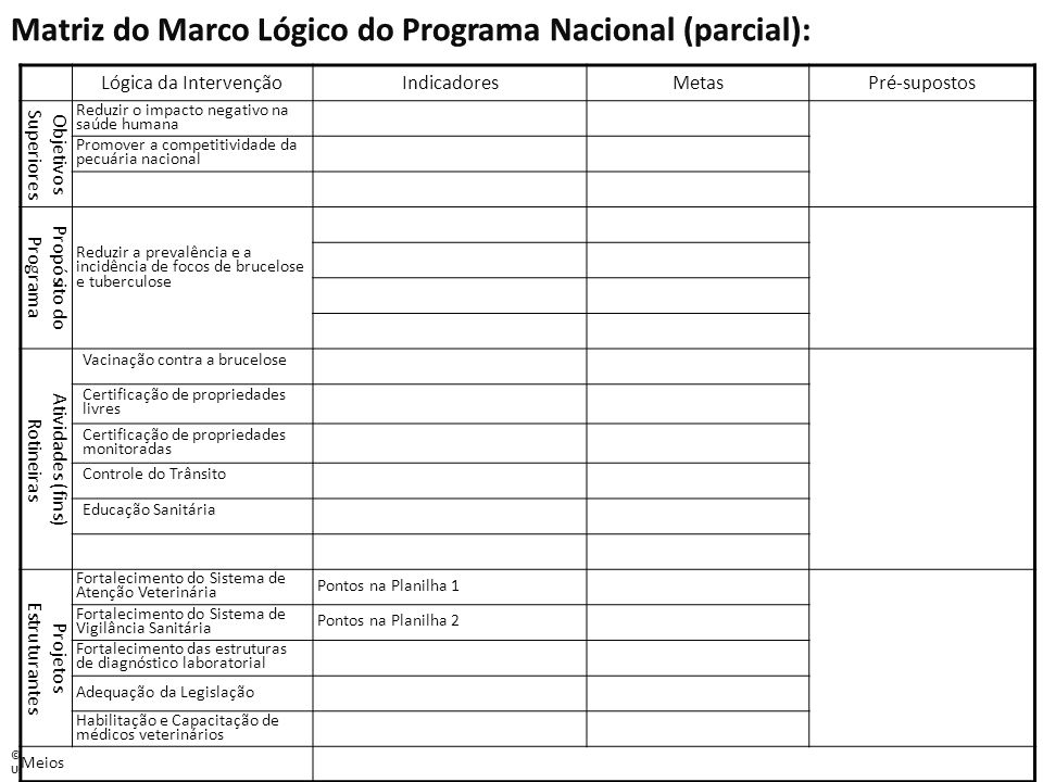 Matriz do Marco Lógico do Programa Nacional (parcial):