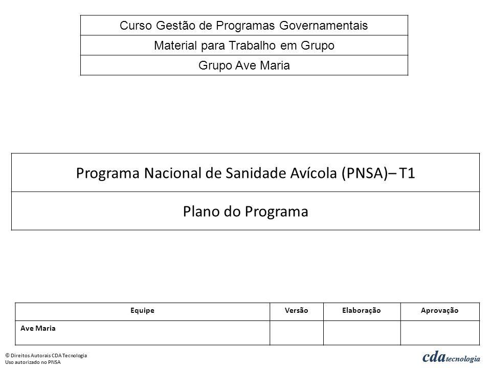 Programa Nacional de Sanidade Avícola (PNSA)– T1 Plano do Programa