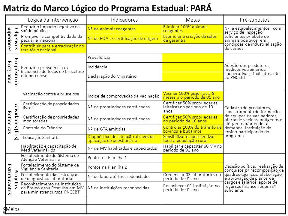 Matriz do Marco Lógico do Programa Estadual: PARÁ