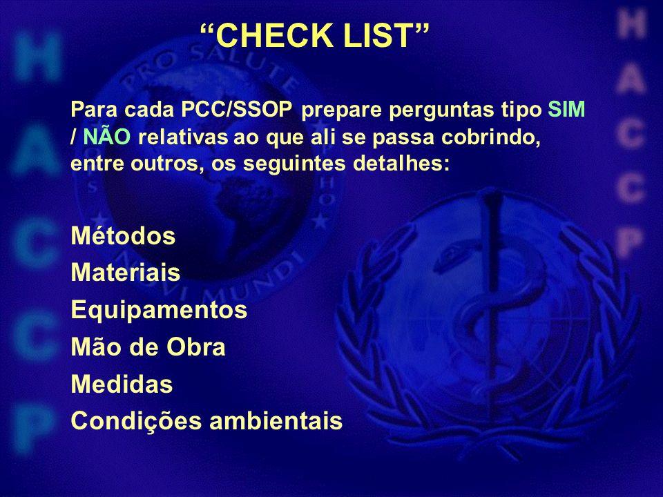 CHECK LIST Para cada PCC/SSOP prepare perguntas tipo SIM / NÃO relativas ao que ali se passa cobrindo, entre outros, os seguintes detalhes: